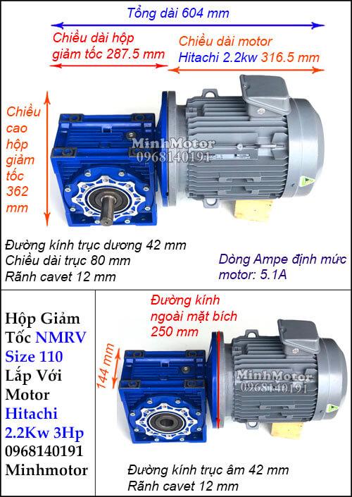 Motor hộp số Hitachi 2.2Kw 3Hp NMRV 110 cốt ra vuông góc