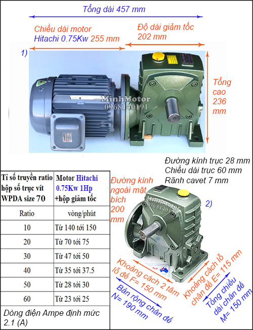 Motor hộp số Hitachi 0.75Kw 1Hp trục vít WPDA size 70