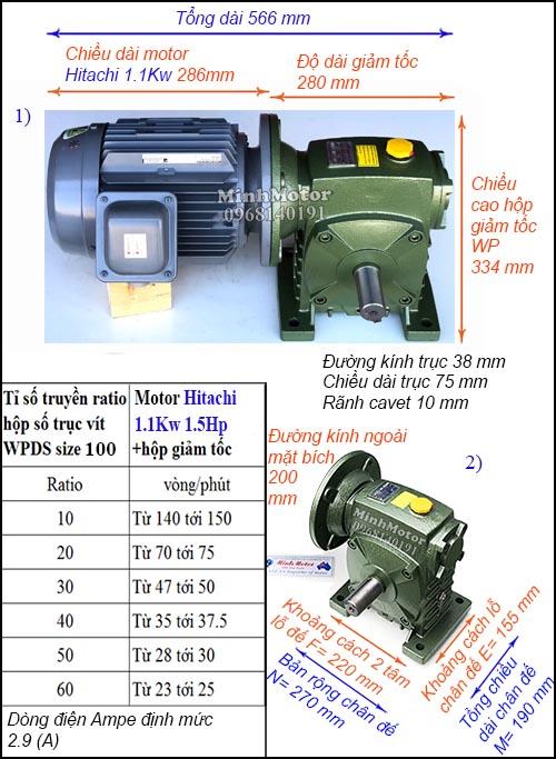 Hộp giảm tốc động cơ Hitachi 1.1Kw 1.5Hp WPDS, cốt dương size 100