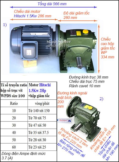 Hộp giảm tốc động cơ Hitachi 1.5Kw 2Hp WPDS, cốt dương size 100