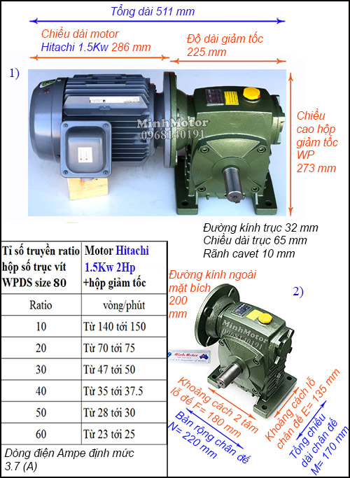 Hộp giảm tốc motor Hitachi 1.5Kw 2Hp WPDS, cốt dương size 80