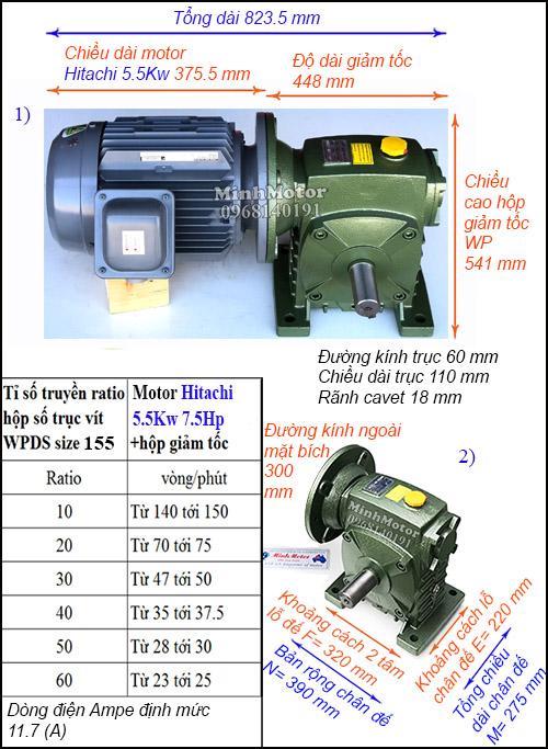 Hộp giảm tốc motor Hitachi 5.5Kw 7.5Hp WPDS, cốt dương size 155
