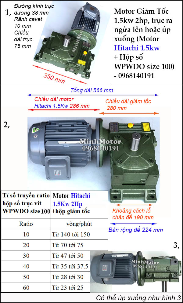 Bộ giảm tốc Hitachi 1.5Kw 2Hp trục ngửa úp, WPWDO size 100