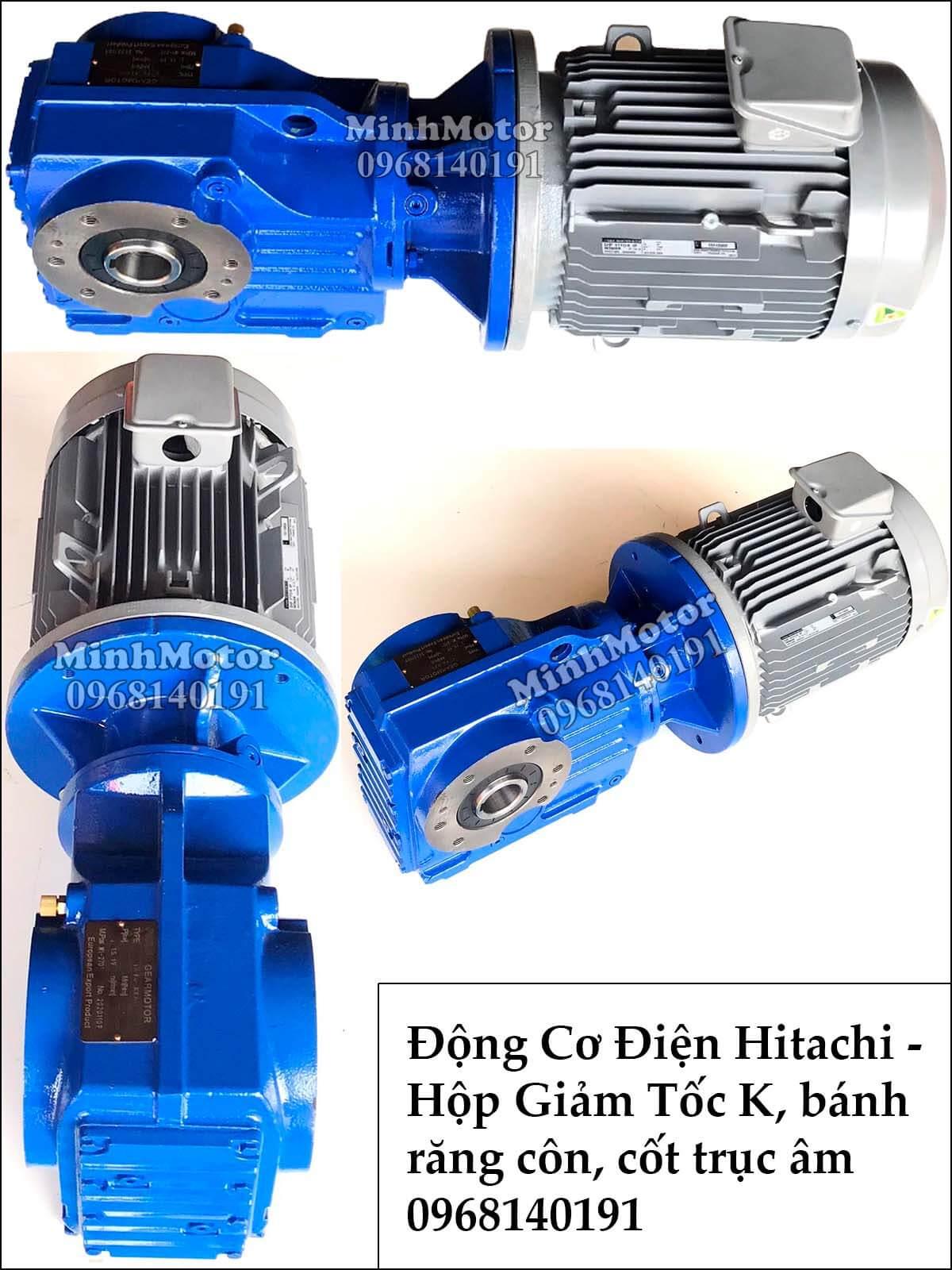 Hộp giảm tốc Hitachi bánh răng côn xoắn K57, 1.5Kw 2Hp cốt âm
