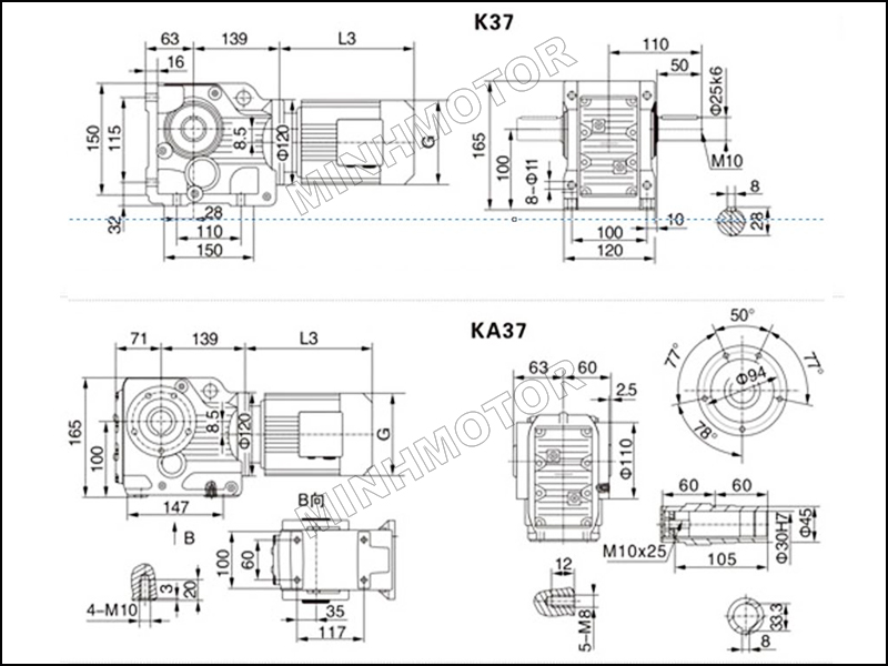 Bản vẽ Hộp Giảm Tốc K37 1HP 0.75Kw cốt âm, cốt dương