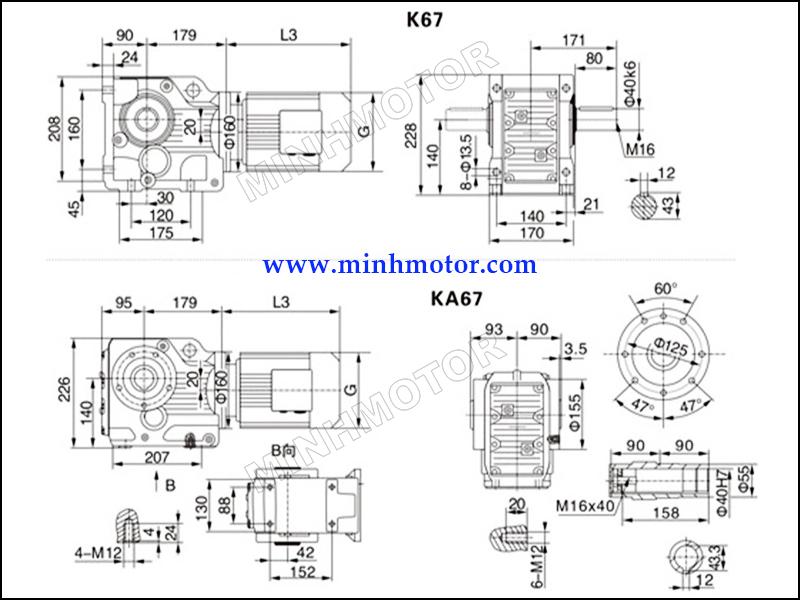 Bản vẽ Hộp Giảm Tốc K67 4kW 5HP cốt âm, cốt dương