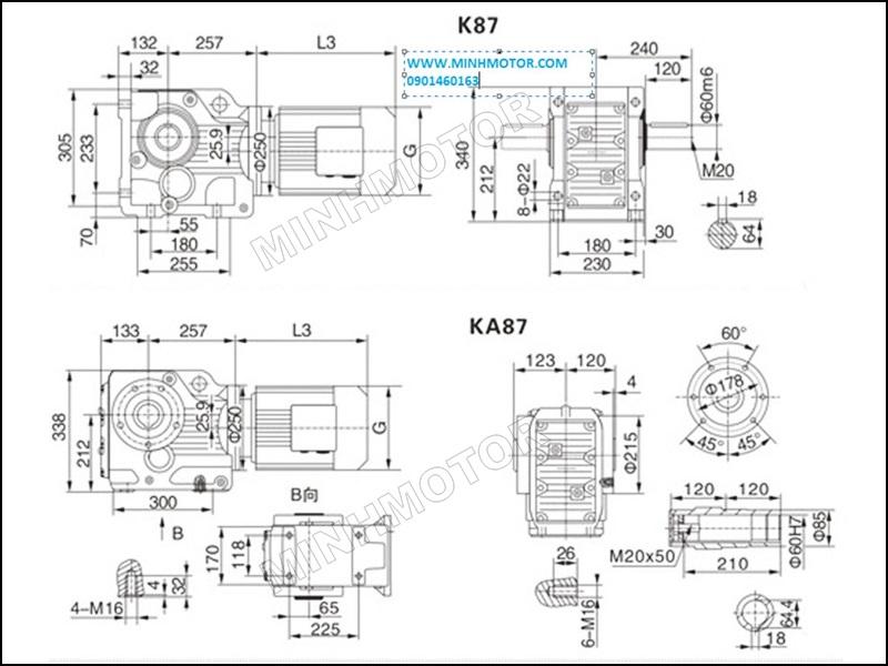 Bản vẽ Hộp Giảm Tốc K87 5.5kW 7.5HP cốt âm, cốt dương