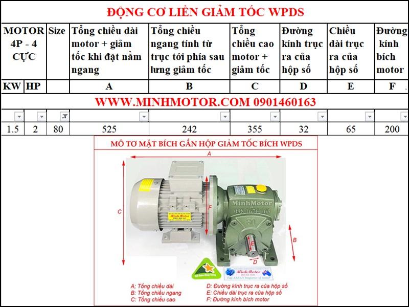 Động cơ mặt bích 380V 1.5kw 2Hp liền hộp giảm tốc WPDS size 80