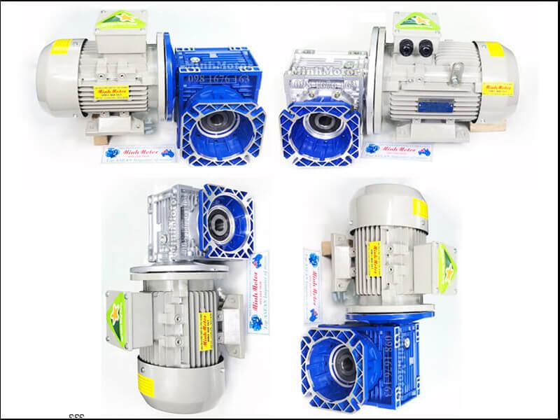 Motor giảm tốc mặt bích 370W 0.37kW 0.5HP trục ra vuông góc
