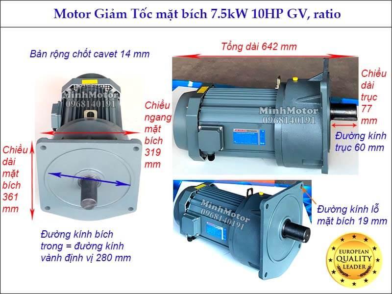 Động cơ Giảm tốc 7.5Kw 10Hp mặt bích GV đường kính trục 60mm