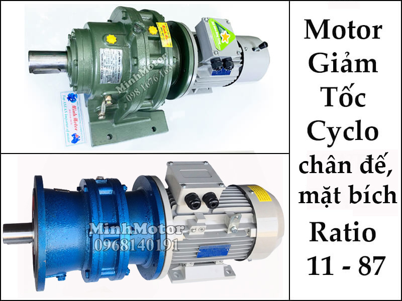 motor giảm tốc Cyclo chân đế, mặt bích 1.5kw 2hp