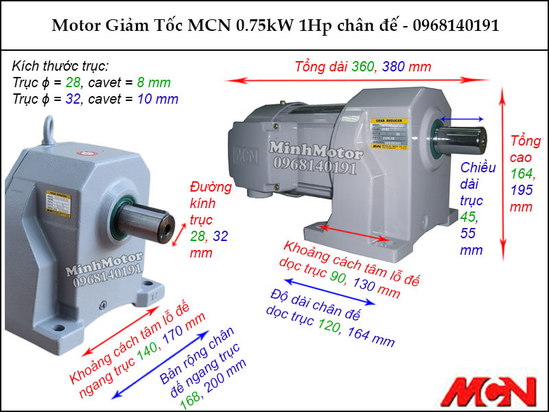 Motor giảm tốc MCN 0.75kW 1Hp chân đế NL