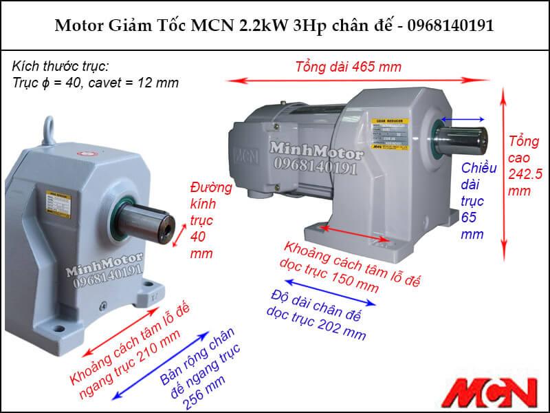 Motor giảm tốc MCN 2.2kW 3Hp chân đế NL