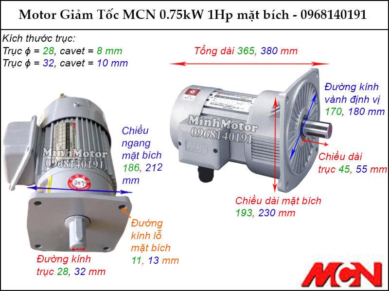 Động cơ giảm tốc MCN 0.75kW 1Hp mặt bích NF