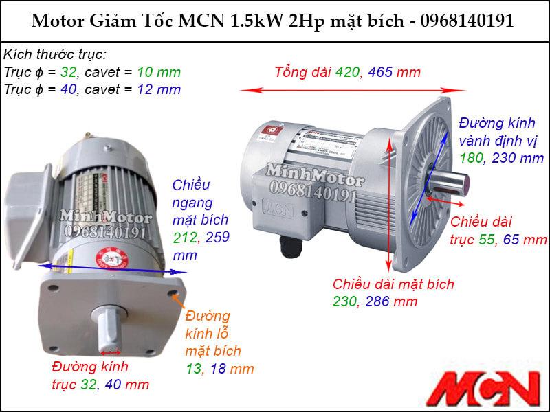 Động cơ giảm tốc MCN 1.5kW 2Hp mặt bích NF