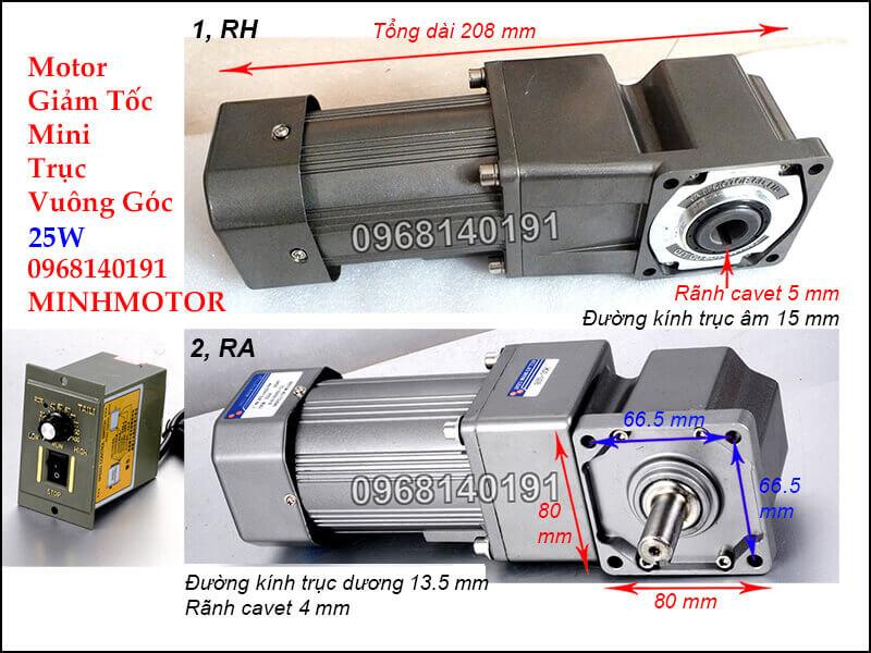 Motor giảm tốc mini 25w vuông góc RH RA