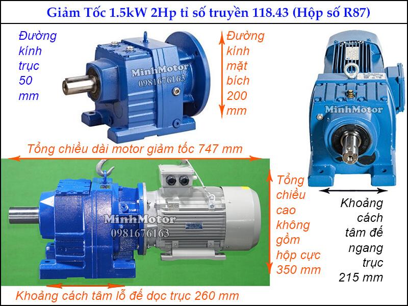 Giảm tốc tải nặng R87 1.5kw 2Hp ratio 118.43