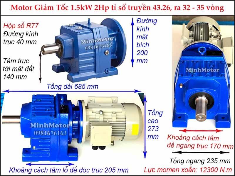 motor giảm tốc tải nặng 1.5Kw 2HP R77 tỉ số truyền 43.26