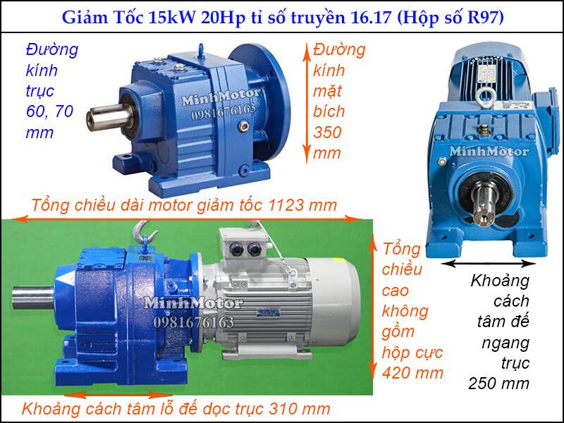 Giảm tốc tải nặng 15kw 20Hp ratio 16.17 R97