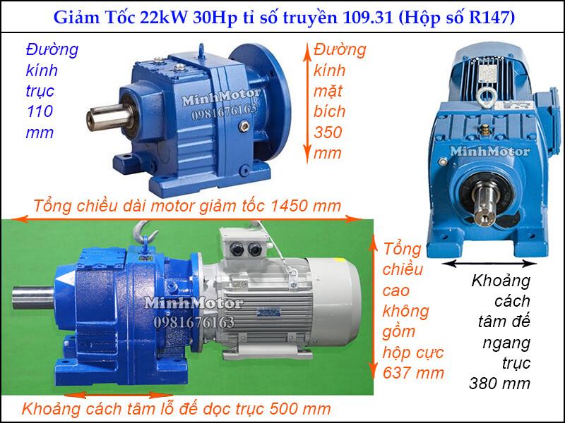 Giảm tốc tải nặng 22kw 30Hp ratio 109.31 R147