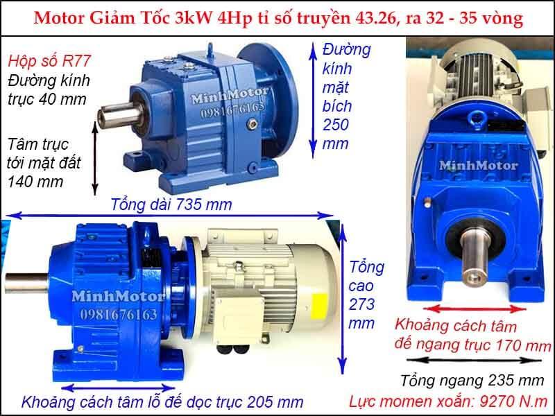 motor giảm tốc tải nặng 3kw 4hp R77 tỉ số truyền 43.26