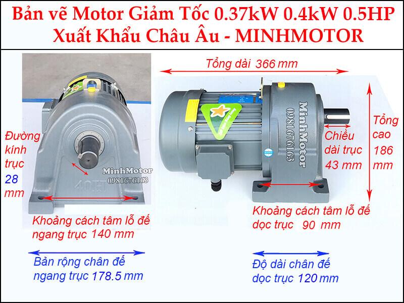 Motor Giảm Tốc 0.4kw - 0.37kw - 400w trục 28 mm chân đế
