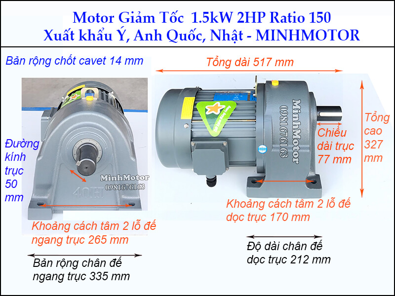 Motor giảm tốc 1.5kw 2Hp trục 50 ratio 150 chân đế