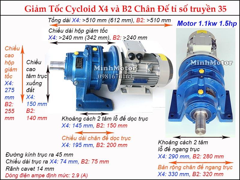 Bản vẽ Motor giảm tốc 1.1kW 1.5HPtỉ số truyền 35, chân đế, đường kính trục 45 mm