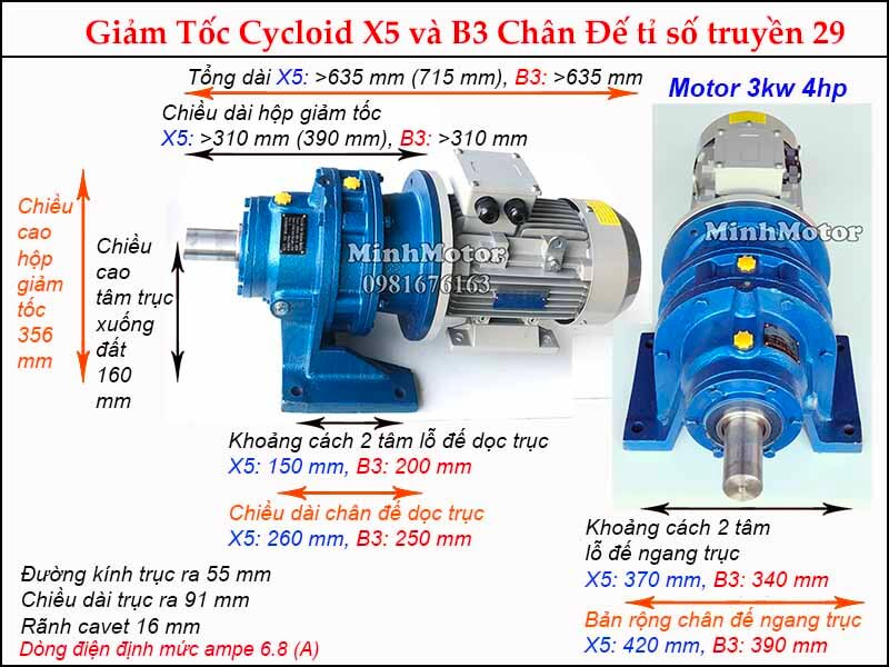 motor giảm tốc 3kw 4hp chân đế tỉ số truyền 29, đường kính trục ra 55 mm