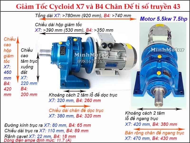 motor giảm tốc 5.5kw 7.5hp chân đế tỉ số truyền 43 đường kính trục 80 mm