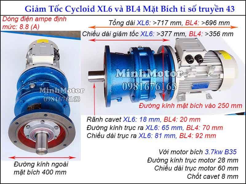 motor giảm tốc 3.7kw 5hp mặt bích tỉ số truyền 43 đường kính ngoài mặt bích 400 mm