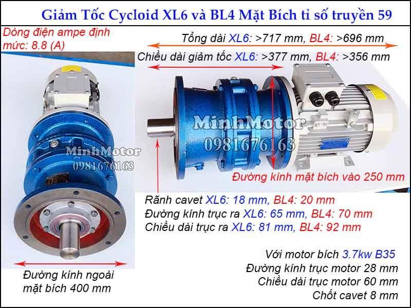 motor giảm tốc 3.7kw 5hp mặt bích tỉ số truyền 59 đường kính ngoài mặt bích 400 mm