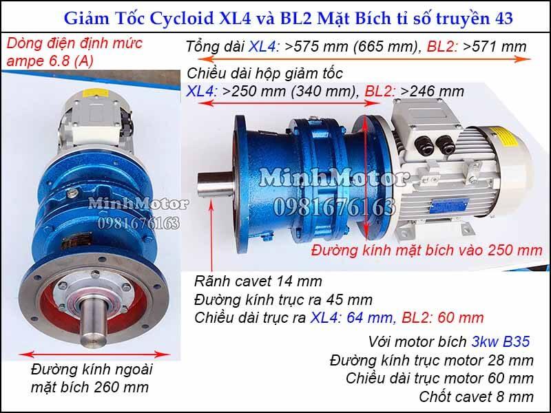 motor giảm tốc 3kw 4hp mặt bích tỉ số truyền 43, đường kính ngoài mặt bích 260 mm