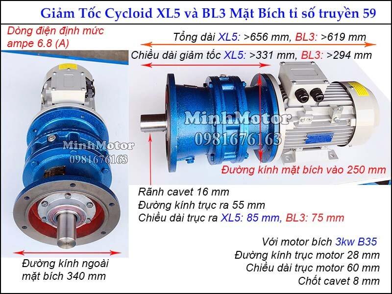 motor giảm tốc 3kw 4hp mặt bích tỉ số truyền 59, đường kính ngoài mặt bích 340 mm