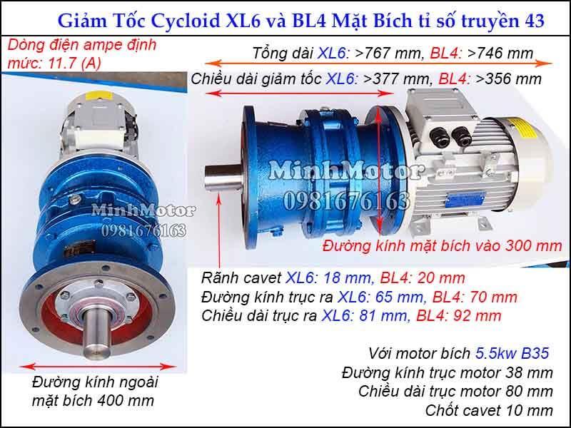 motor giảm tốc 5.5kw 7.5hp mặt bích tỉ số truyền 43 đường kính ngoài mặt bích 400 mm