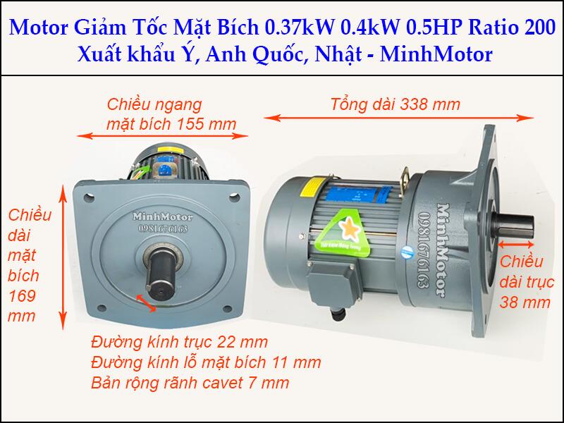 Motor giảm tốc 0.37kw 0.4kw 0.5Hp trục 22 ratio 150 mặt bích