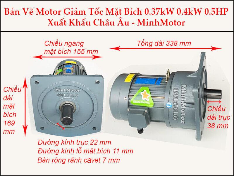 Motor Giảm Tốc 0.4kw - 0.37kw - 400w trục 22 mm mặt bích