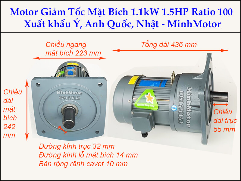Motor giảm tốc 1.1kw 1.5Hp trục 32 ratio 100 mặt bích