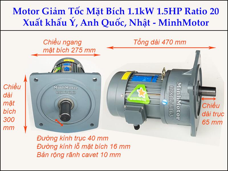 Motor giảm tốc 1.1kw 1.5Hp trục 40 ratio 20 mặt bích