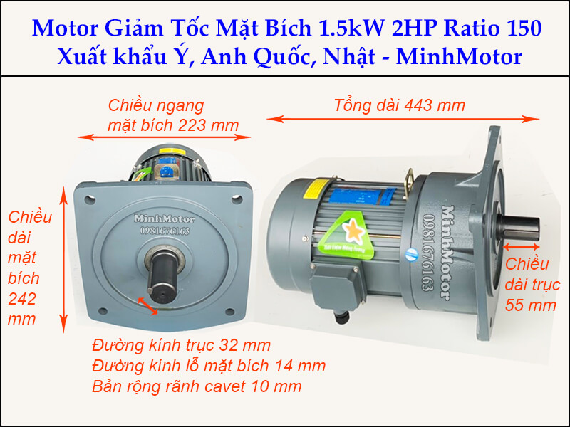Motor giảm tốc 1.5kw 2Hp trục 32 ratio 150 mặt bích