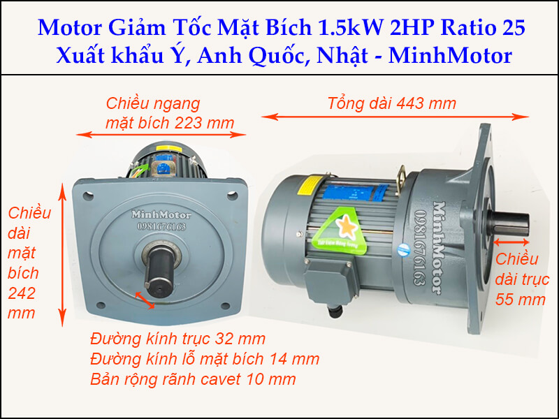 Motor giảm tốc 1.5kw 2Hp mặt bích trục 32 ratio 25
