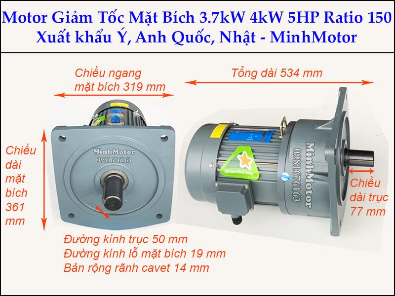 Motor giảm tốc 3.7kw 5Hp trục 50 ratio 150 mặt bích