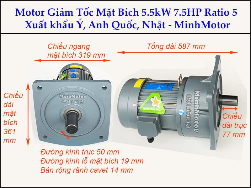 Motor giảm tốc 5.5kw 7.5Hp trục 50 ratio 5 mặt bích