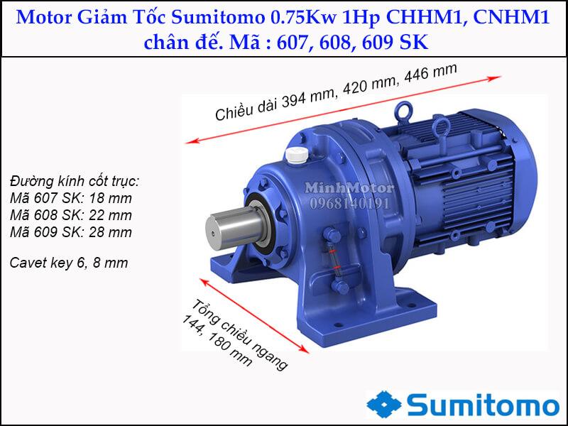 giảm tốc sumitomo CHHM1, CNHM1 chân đế, mã 607, 608, 609 SK 0.75kw 1hp
