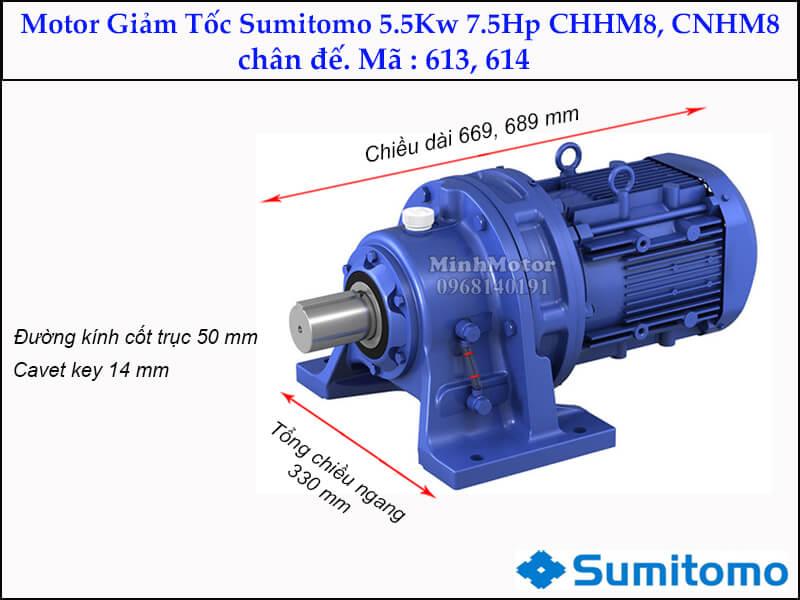 giảm tốc Sumitomo CHHM8, CNHM8 chân đế, mã 613, 614, 5.5kw 7.5hp