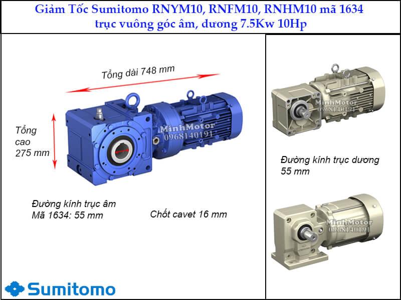 giảm tốc Sumitomo RNYN10, RNFM10, RNHM10 trục vuông góc, mã 1634, 7.5kw 10hp