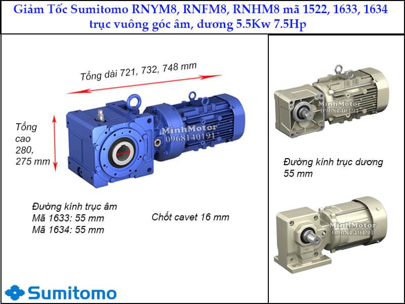 giảm tốc Sumitomo RNYN8, RNFM8, RNHM8 trục vuông góc, mã 1522, 1633, 1634, 5.5kw 7.5hp