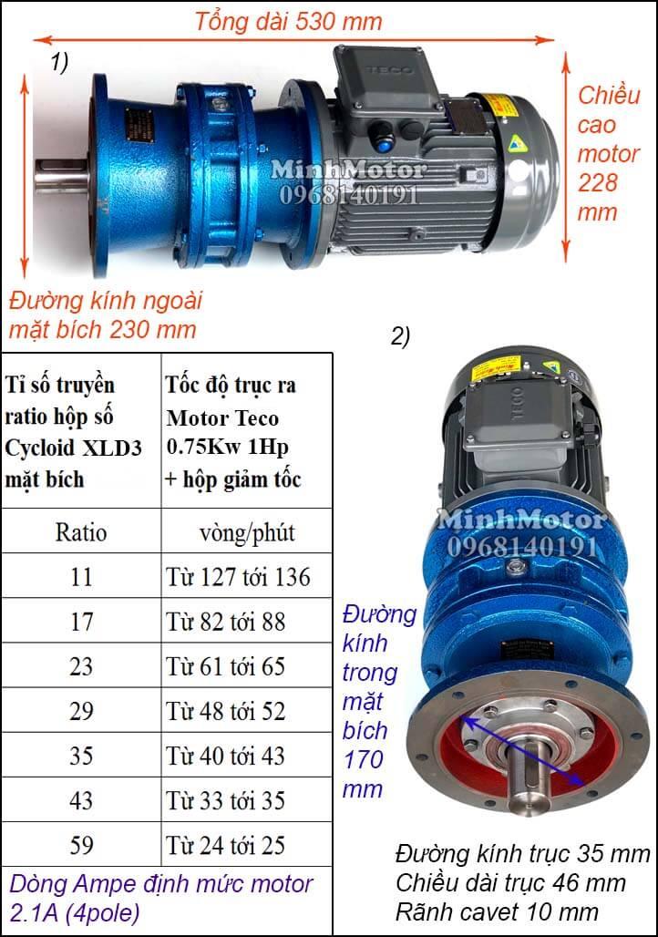Motor Teco 0.75kw 1hp liền giảm tốc cyclo bích XLD3