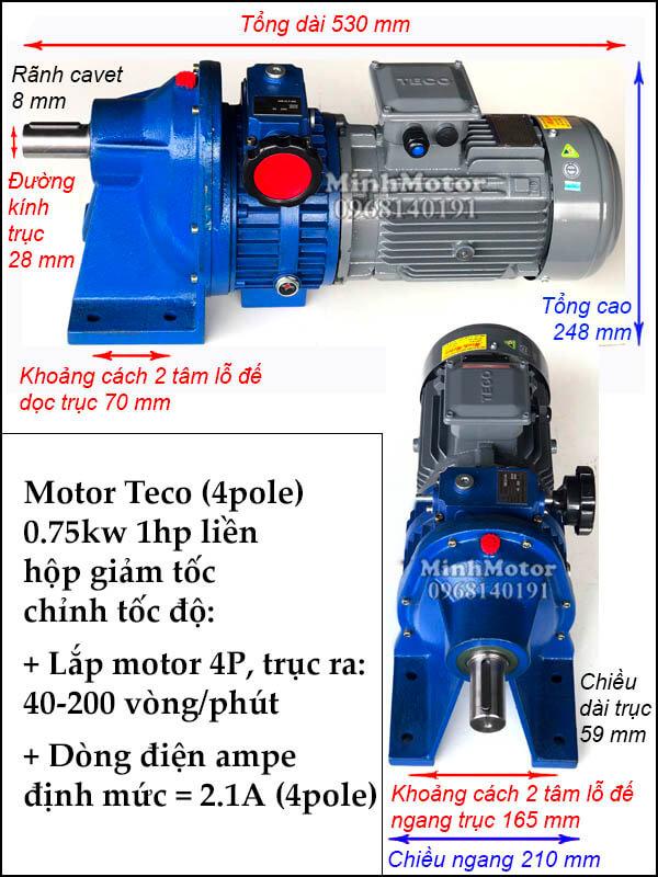 Bộ điều khiến tốc độ motor Teco 0.75kw 1Hp