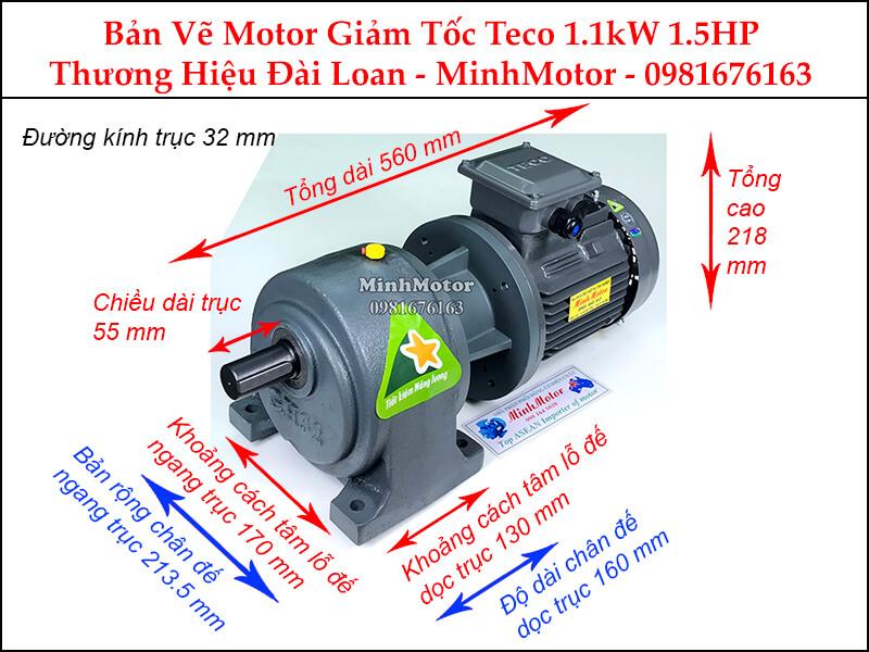 Motor giảm tốc Teco 1.1kW 1.5Hp chân đế